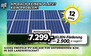 12 kWp Freifeld-PV-Anlage für Unternehmen bzw. in der Landwirtschaft