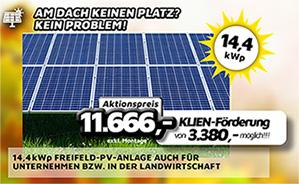 14,4 kWp Freifeld-PV-Anlage auch Unternehmen bzw. in der Landwirtschaft