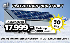 30 kWp Photovoltaik-Anlage für Unternehmen bzw. in der Landwirtschaft