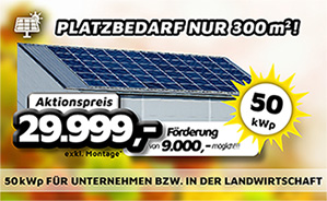 50 kWp Photovoltaik-Anlage für Unternehmen bzw. in der Landwirtschaft