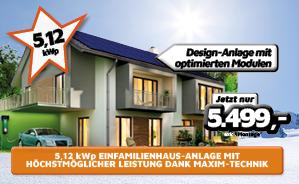 5,12 kWp Einfamilienhaus-Anlage mit höchstmöglicher Leistung dank Maxim-Technik