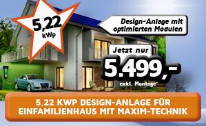 5,22 kWp Einfamilienhaus-Anlage mit höchstmöglicher Leistung dank Maxim-Technik