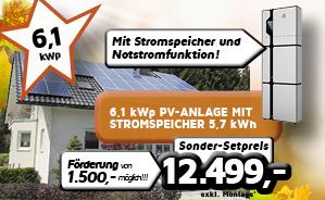 6,1 kWp PV-Anlage mit Stromspeicher 5,7 kWh