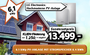 6,1 kWp PV-Anlage mit Stromspeicher 6,4 kWh