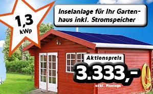 Insel-Anlage für Ihr Gartenhaus mit 1,3 kwp und 3,6 kwh Speicher (50% DOD)