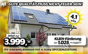 PV-Einfamilienhausanlage mit 4,1 kWp Spitzenleistung